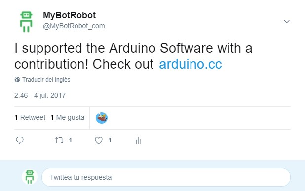 MyBotRobot Tweet @MyBotRobot_com donacion a proyecto Arduino