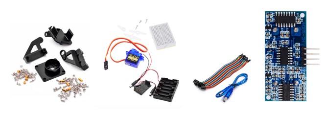 Ejemplo componentes kit para Robot Arduino