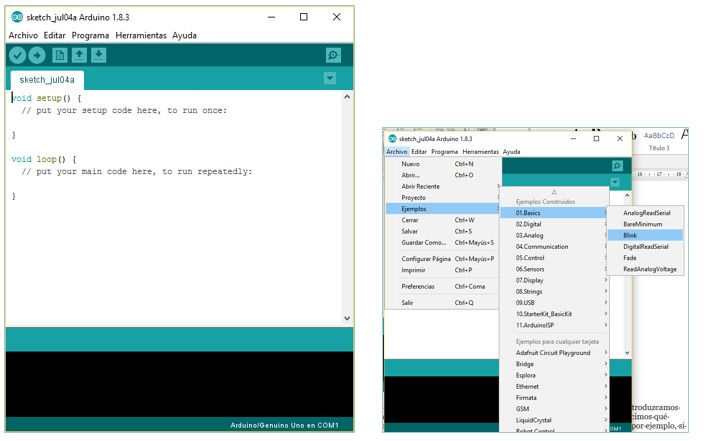 MyBotRobot imagen entorno programacion software Arduino y menu ejemplos predefinidos