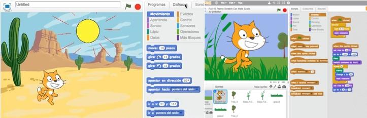2 pantallazos de Scracth, útil herramienta en robótica para niños