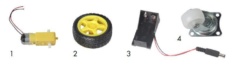 Piezas del kit 1 a 4: motor de engranaje, ruedas, soporte para pilas y rueda loca