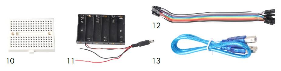 Mini placa de prueba, soporte para pilas, cables conectores de colores y cable usb de nuestro kit de montaje arduino