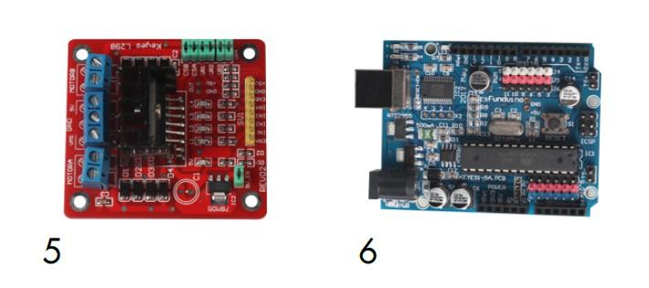 Placa de control de motores y placa arduino compatible en nuestro kit de montaje arduino