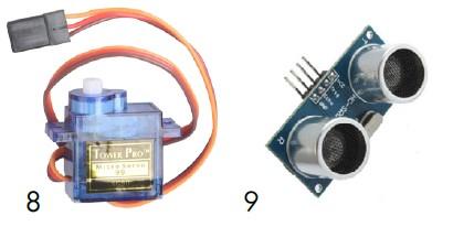 Servomotor y módulo de ultrasonidos de nuestro kit de montaje arduino
