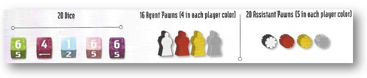 Componentes del juego Sentient: dados, fichas de agente y fichas de auxiliar