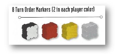 Componentes del juego Sentient: fichas de marcador de turno de cada jugador