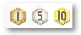 Componentes del juego Sentient: fichas de puntos de victoria
