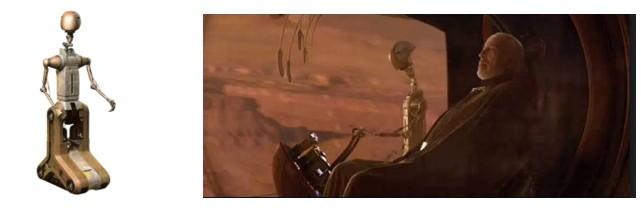 Droide piloto FA-4 conduciendo al Conde Doku y detalle