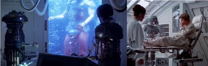 Robot Star Wars Droide médico 2-1B con Luke en episodio V y VI
