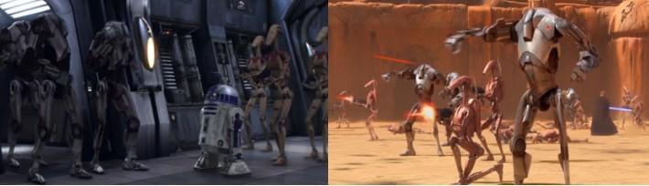 Droides Star Wars B2 en batalla Geonosis y la nave de Lord Grievous