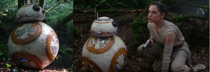 Droides Star Wars Droide Astromecanico BB8 con Rey al final del episodio 7