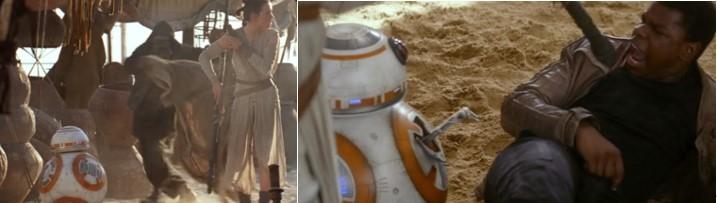 Droides Star Wars BB8 con Rey y haciendo confesar a Finn en su primer encuentro