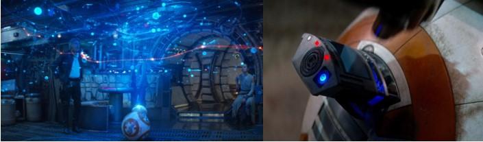 Droides Star Wars BB8 en Halcon Milenario y entregando mensaje de Leia