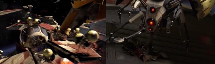Droides zumbadores destrozando una nave y detalle de uno de ellos