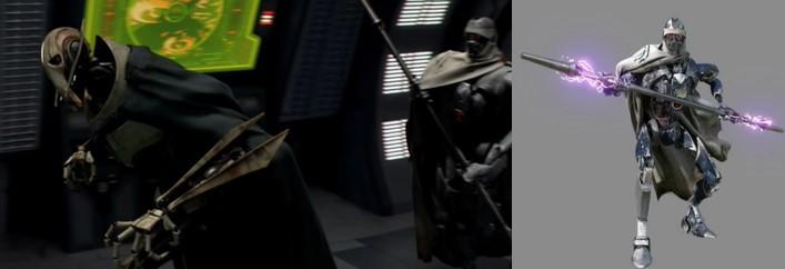 Droides Star Wars, lord Grievous seguido de un droide IG-100 o Magna guardia