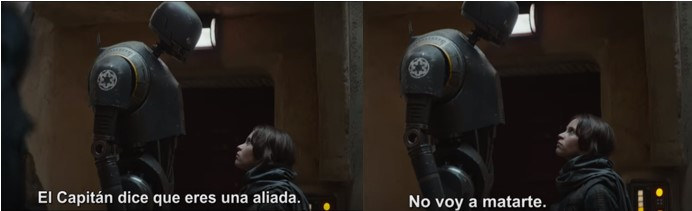 K-2SO de Star Wars Rogue One conoce a Jyn Erso