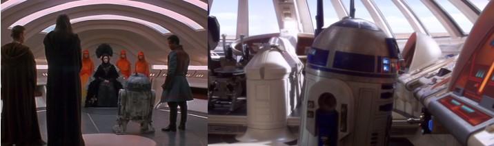 R2-D2 conoce a Padme en el episodio 1, y a la izquierda en la nave de Padme y Anakin en el episodio 2