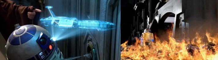 Droides Star Wars R2-D2 localizando al senador Palpatine y provocando fuego para desviar la atención