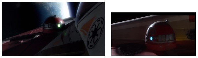 Droides Star Wars R4-P17 en el caza de Obi Wan