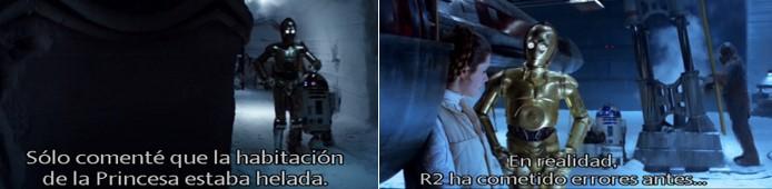 Robot Star Wars C3PO tranquilizando a Leia porque Luke no ha aparecido