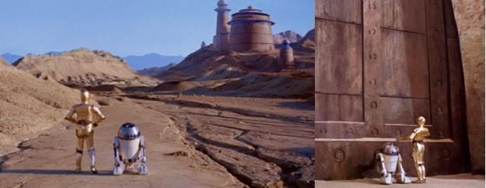 Robot Star Wars C3PO con R2D2 al principio de episodio 6
