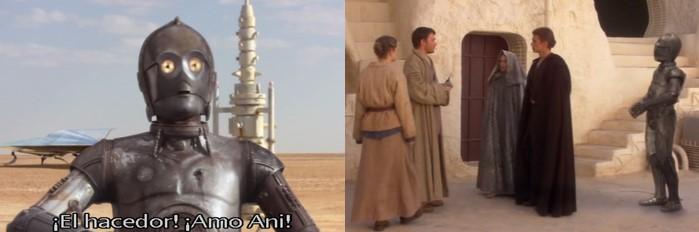 C3PO en Tatooin, episodio II, cuando Anakin regresa en busca de su madre