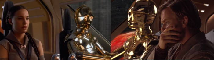 Robot Star Wars C3PO al final del episodio 3 con Padme y Obi Wan