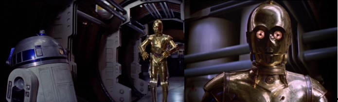 Robot Star Wars C3PO con R2 en la nave de Leia huyendo en una cápsula