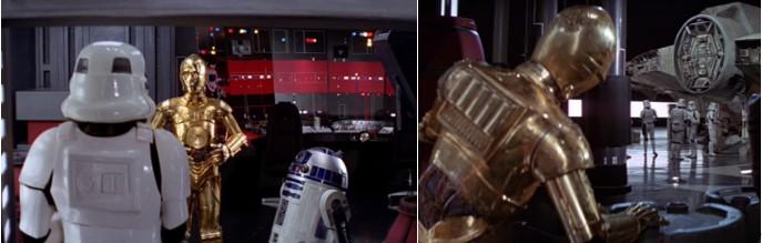 C3PO Robot Star Wars engañando a soldados imperiales en el episodio IV