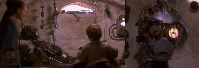 Rboto Star Wars C3PO siendo creado por el niño Anakin Skywalker en Tatooin