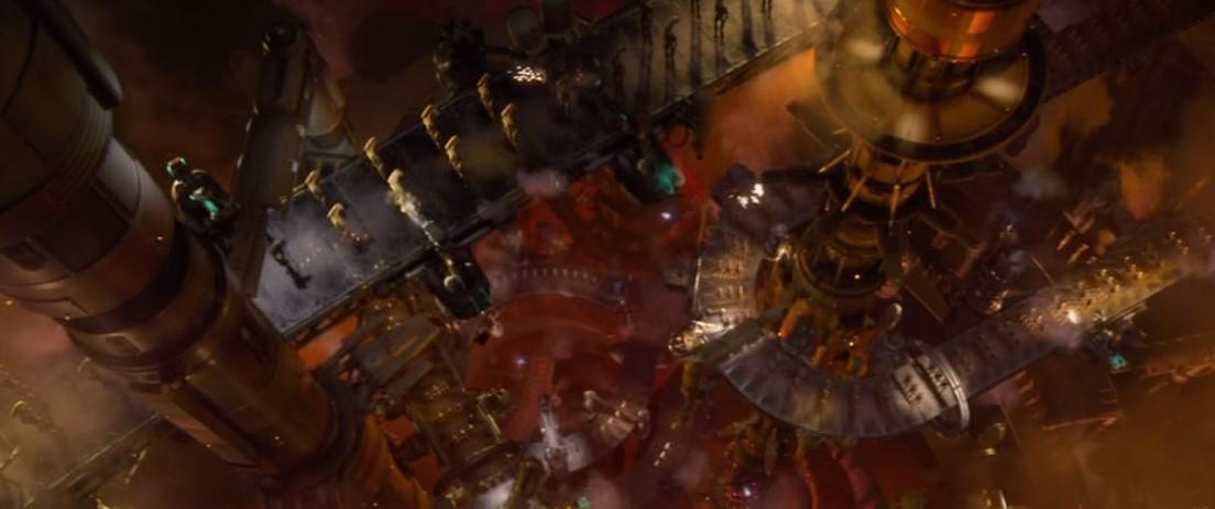 Fabricación en masa de robots Star Wars en Geonosis, escena del episodio 2, el ataque de los clones
