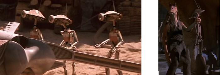 Robot Star Wars de la serie DUM con Jar Jar y otros arreglando cosas