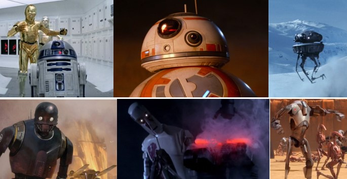 Robot Star Wars C3PO, robot star wars R2D2, Robot star Wars BB8, robot star Wars torturador en mazmorras Jabba The Hut, Robot Star Wars K2SO de Rogue One, Robot Star Wars Duper Droide de batalla, Robot Star Wars OMM y Robot Star Wars de exploración Víbora
