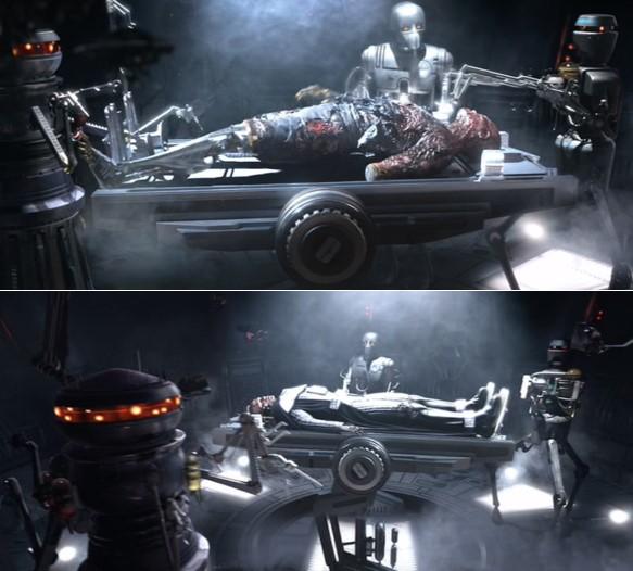 Robots Star Wars médicos atendiendo a Anakyn, ya convertido en Darth Vader