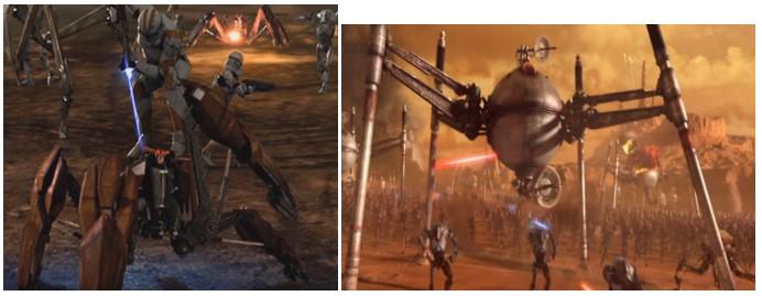 Robot Star Wars DS-D1 y LM432 en la batalla de Geonosis