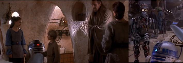 Robot Star Wars R2D2 conoce a Anakin y a C3PO