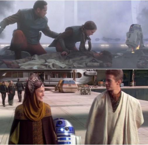 Robot Star Wars R2D2 en un atentado contra Padme y acompañando a Padme y Anakin