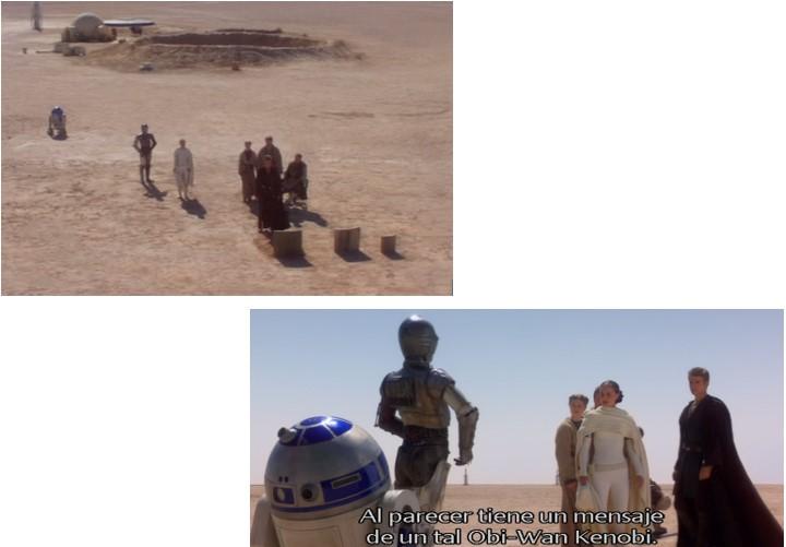 Robot Star Wars R2D2 dando mensaje de Obi Wan y en el entierro de la madre de Anakin