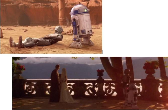 Robot Star Wars R2D2 arreglando la cabeza de C3PO en Geonosis y en la boda de Padme y Anakin