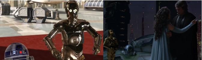 Robot Star Wars R2D2 felicitado por el rescate de Palpatine y en casa de Padme cuando acude Anakin