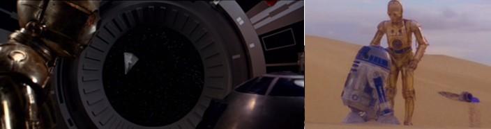 Robot Star Wars R2D2 y C3PO escapando en una cápsula y una vez aterrizados en Tatooin