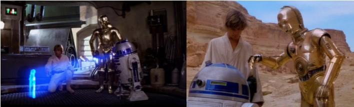 Robot Star Wars R2D2 transmitiendo el mensaje de Leia a Obi Wan y Luke. Y los dos droides yendo hacia la cueva de Obi Wan