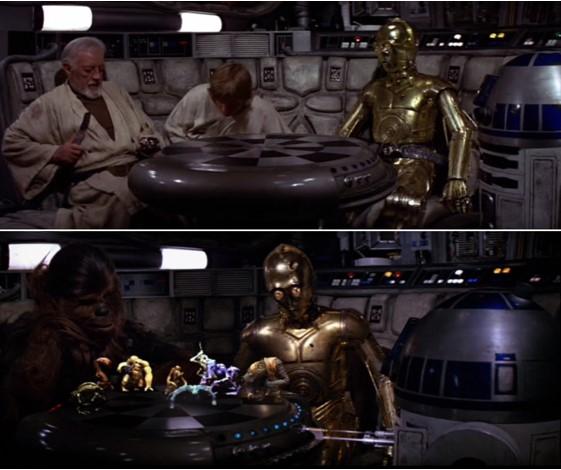 Robot Star Wars R2D2, C3PO, Luke y Obi Wan en el Halcón Milenario