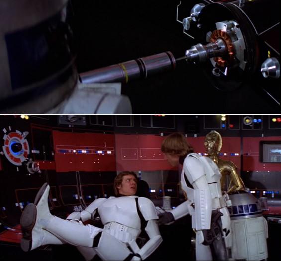 Robot Star Wars R2D2 paralizando el compactador de basura y en la escena en que Luke convence a Han Solo para rescatar a la princesa Leia
