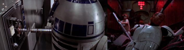 Robot Star Wars R2D2 y los protagonistas a punto de morir en el compactador de basura de la nave del Imperio