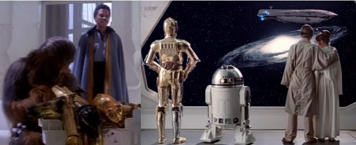 Lando Calrissian con C3PO desmantelado y Robot Star Wars R2D2 con C3PO, Luke y Leia después de su nuevo brazo biónico.