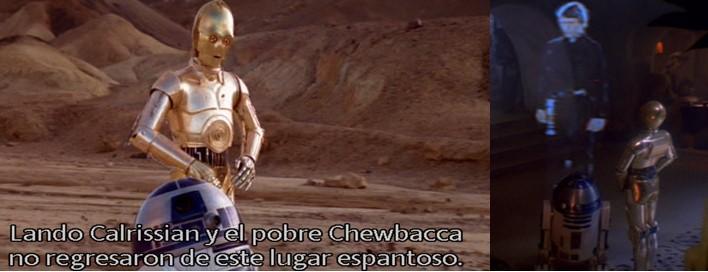 R2D2 y C3PO de camino a la guarida de Jabba The Hut y R2D2 entregando el mensaje de Luke a Jabba