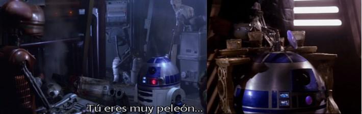 Robot Star Wars R2D2 en dos escenas en la guarida de Jabba The Hut