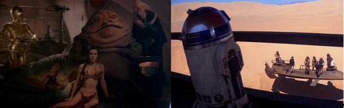 Leia encadenada en la guarida de Jabba The Hut y Robot Star Wars R2D2 esperando oportunidad para escapar