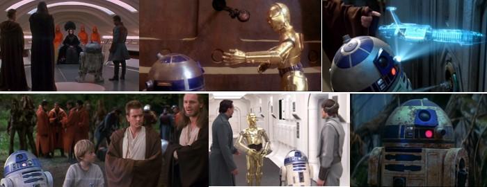 Robot Star Wars R2D2 en diversas escenas de la saga Star Wars